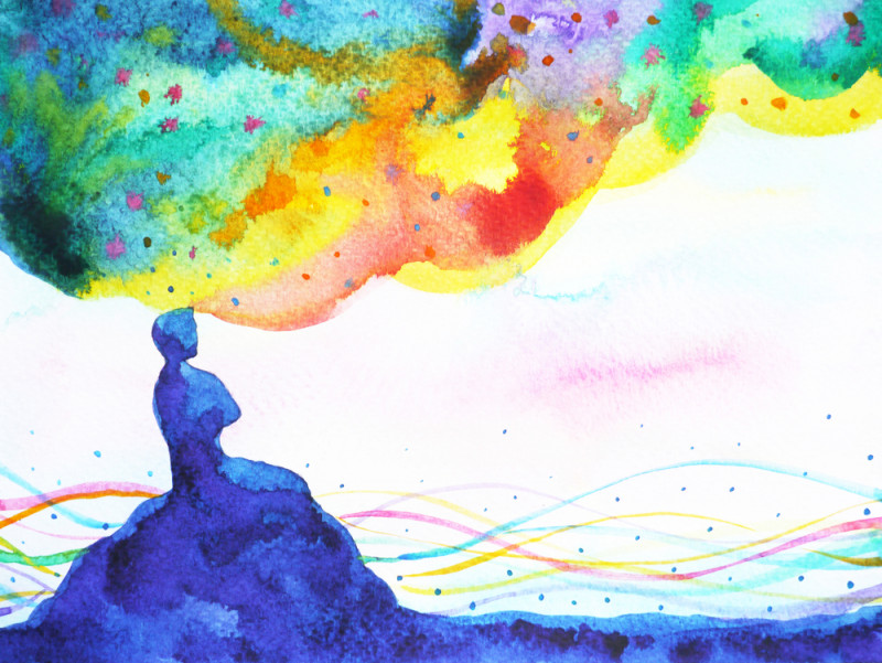 music for dementia | Alzheimer's News Today | Watercolor illustration of silhouetted person in nature