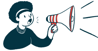 gantenerumab named FDA breakthrough therapy/Alzheimer's News Today/woman with megaphone announcement illustration