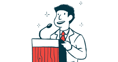 Congress requests data on Aduhelm approval | Alzheimer's News Today | Clinical Trials | Illustration of speaker at podium